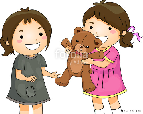Kid Girls Share Toy Bear Unfortunate Illustration\