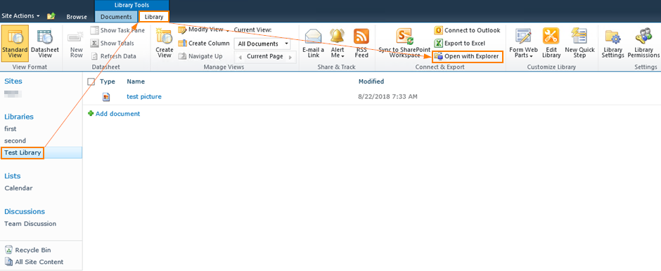 How Do I Open SharePoint 2010 Document Library In Windows.