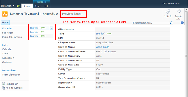 Modifying the SharePoint 2010 Preview Pane View Style.