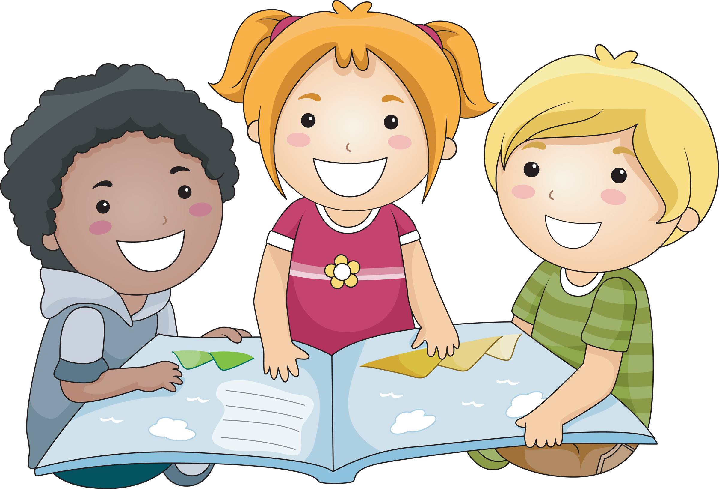 group of kids reading clipart - Clipground