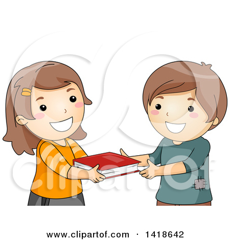 Sharing A Book Clipart.