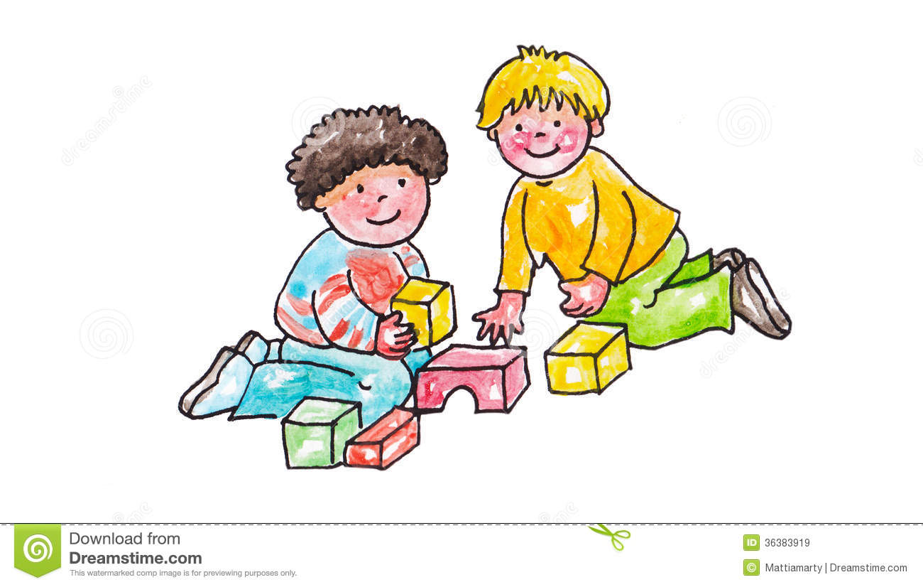 Children sharing toys clipart.