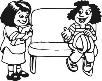 Sharing At School Black And White Clipart.