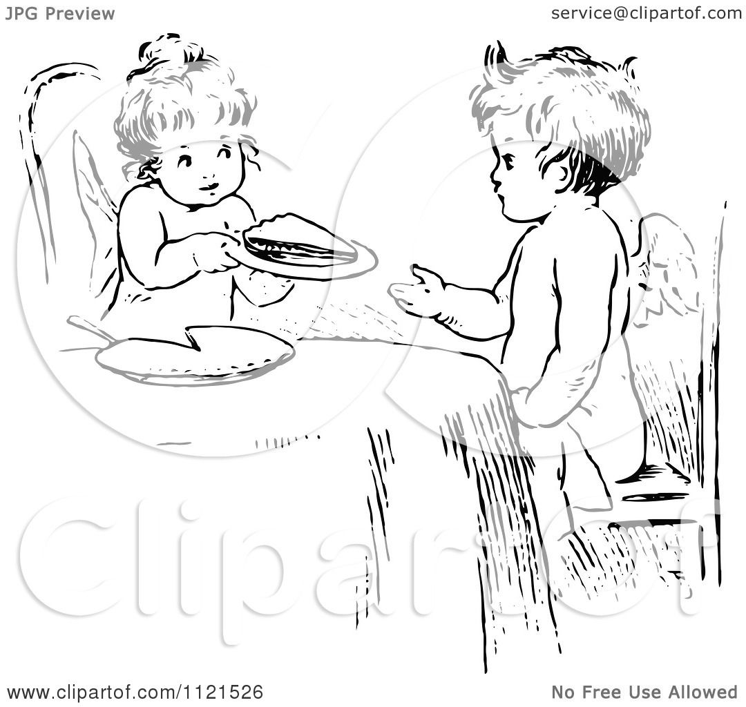 Clipart Of A Retro Vintage Black And White Cherubs Sharing Pie.
