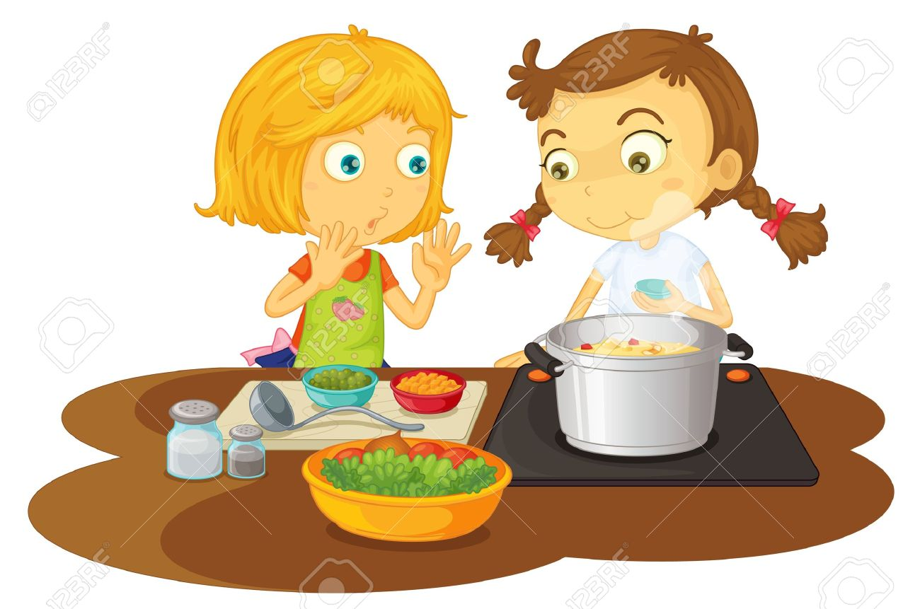 sharing food with friends clipart #1