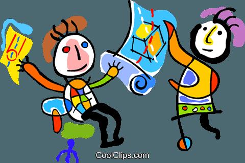 sharing ideas Royalty Free Vector Clip Art illustration.
