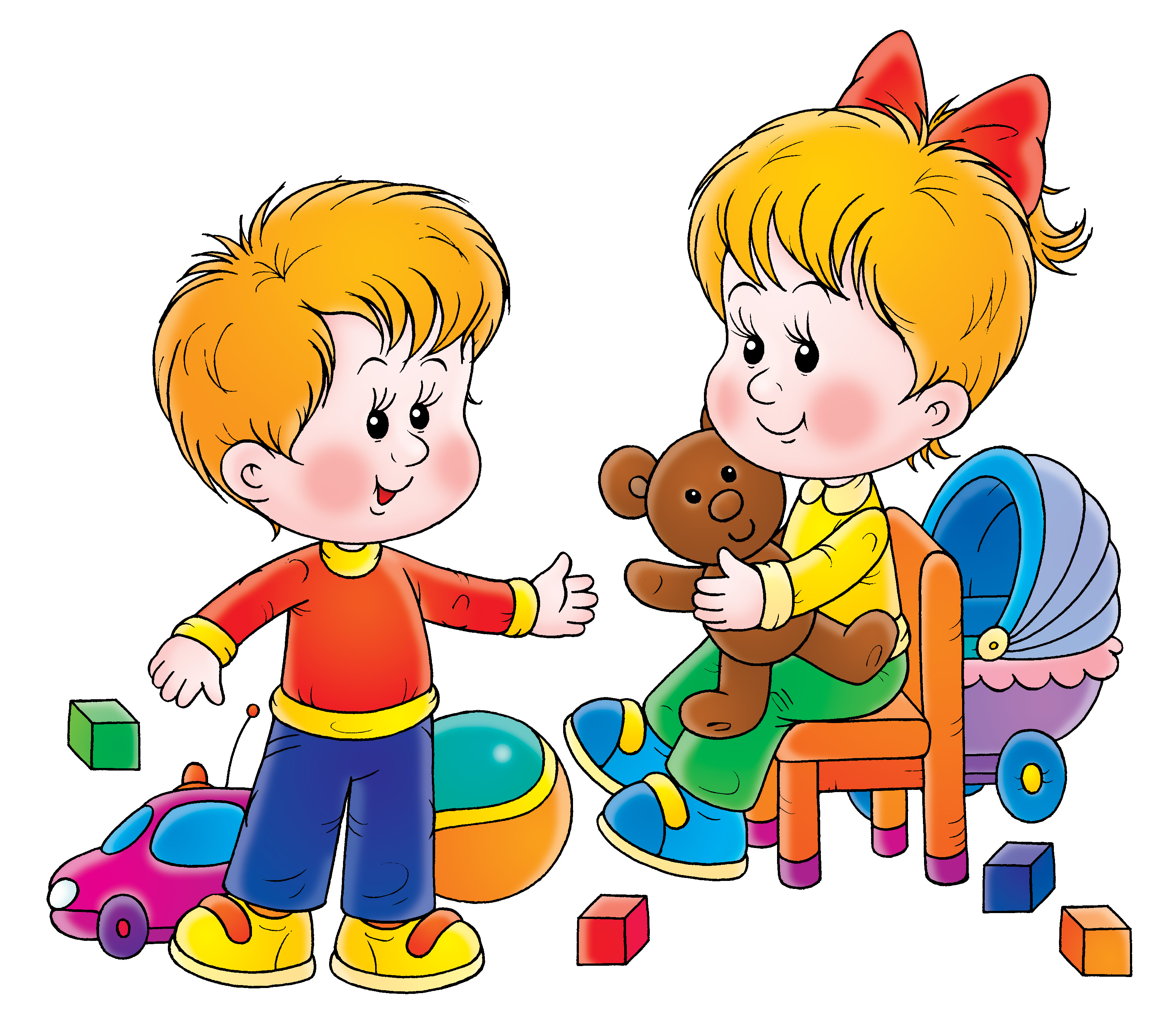 Sharing Toys Clipart.