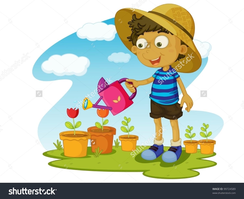 Illustration Kid Gardening Water Stock Vector 99724589.