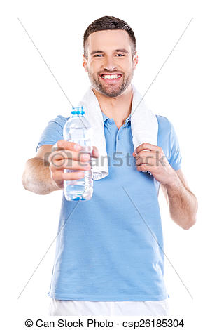 Stock Photography of Sharing water with you. Handsome young man.