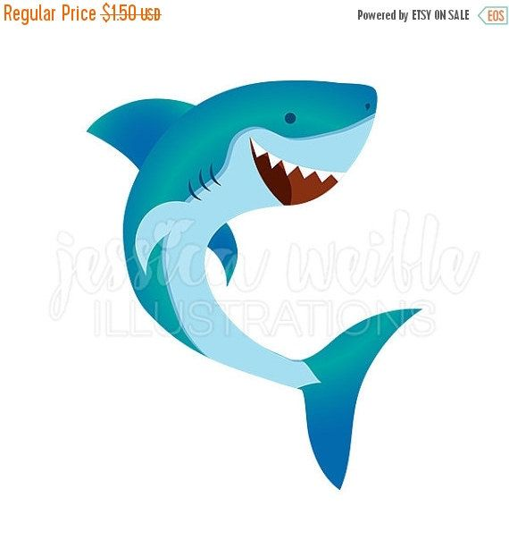 Happy Shark Cute Digital Clipart, Cute Shark Clip art, Shark.