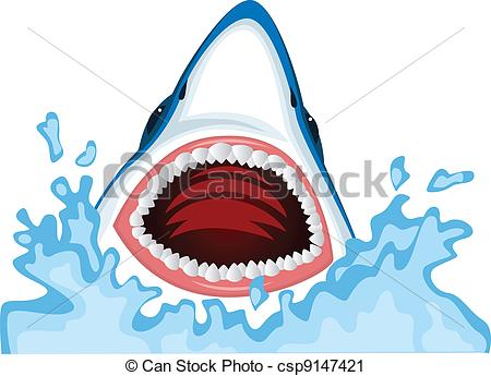 Vector Clip Art of Angry shark.