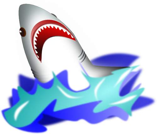 Shark with mouth open clip art.
