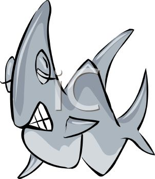 Picture of a Shark With It's Eyes Closed Showing It's Teeth In a.