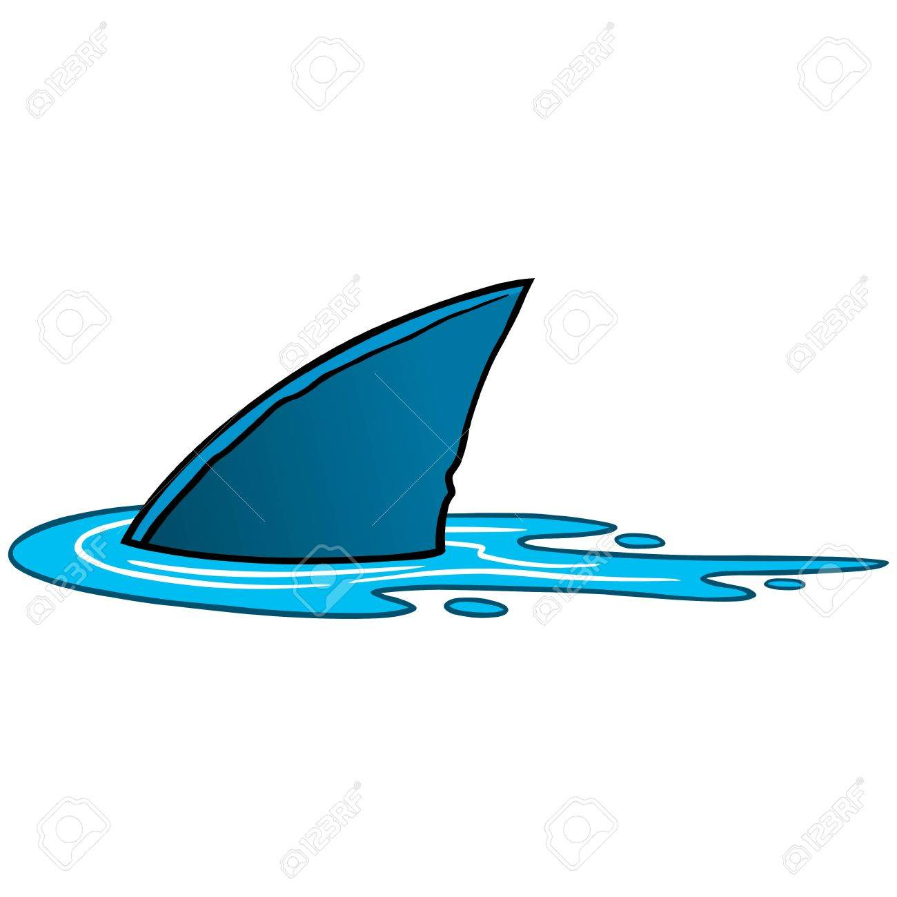 Shark Fin In Water Clipart.