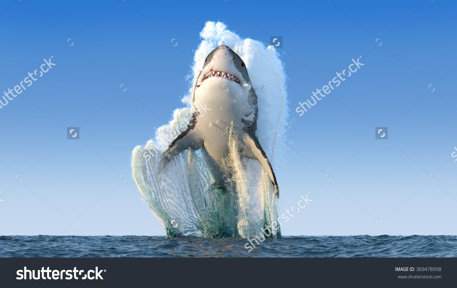 Shark Jumps Out Water Stock Illustration 369478958.