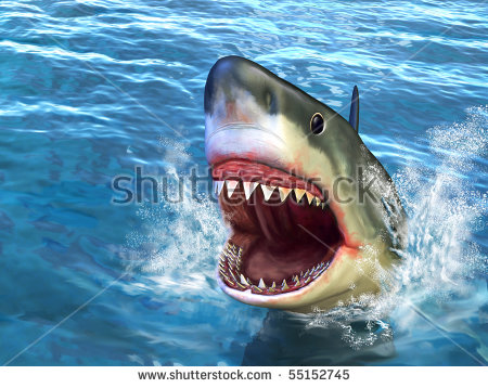 Great White Shark Jumping Out Water Stock Illustration 55152745.