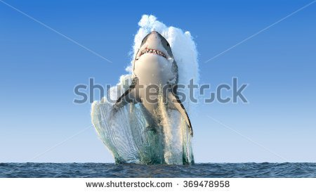 Shark Bursting Out Of Water Clipart.