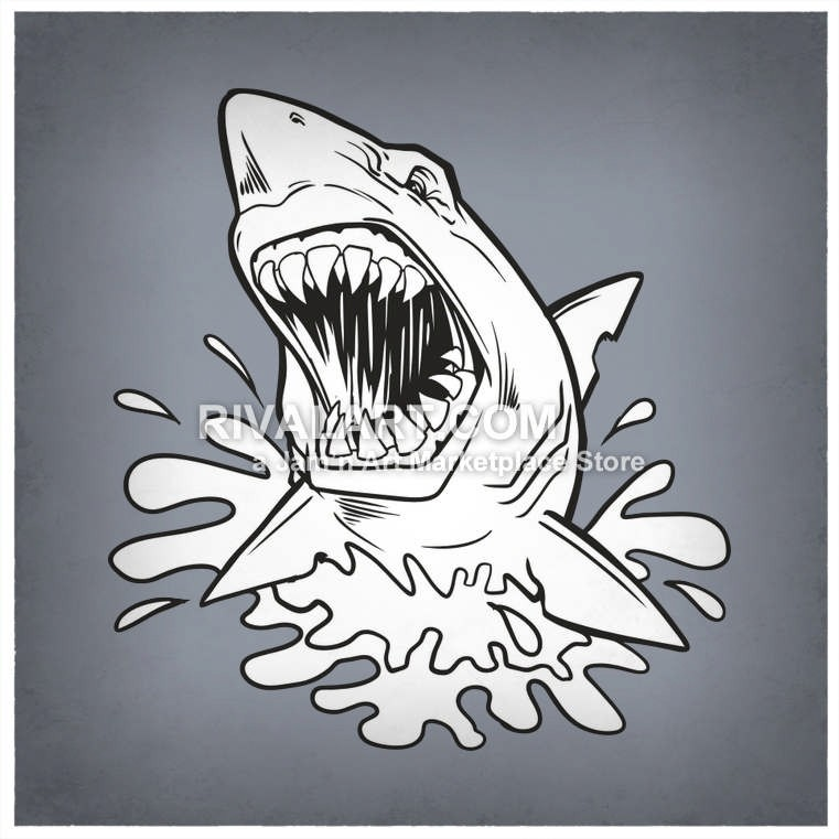 Shark Jumping Out Of Water Clipart.