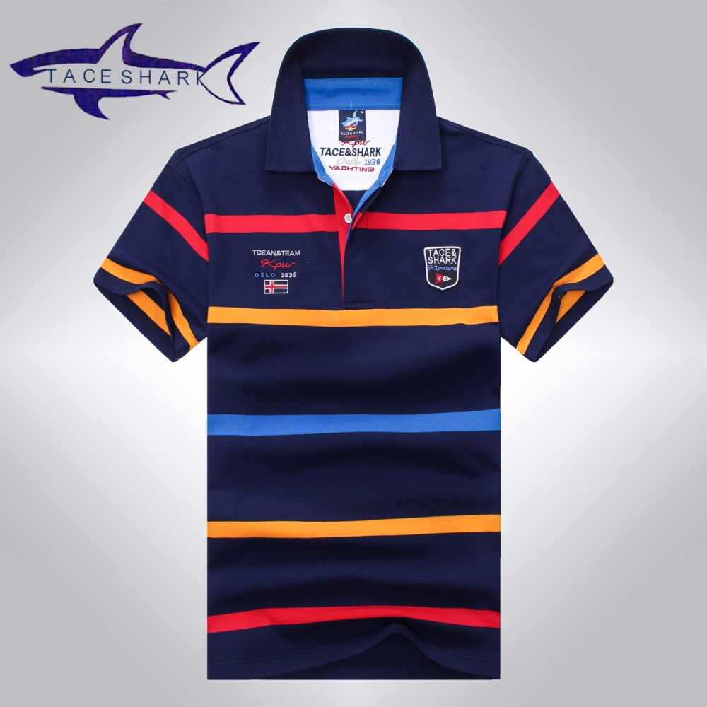Tace & Shark polo shirt men brand clothing mens stripe cotton slim fit polo  homme Summer fashion style shark logo male tops tees.