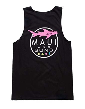 Maui and SONS Shark Logo Black Tank Top, Black, Large at.