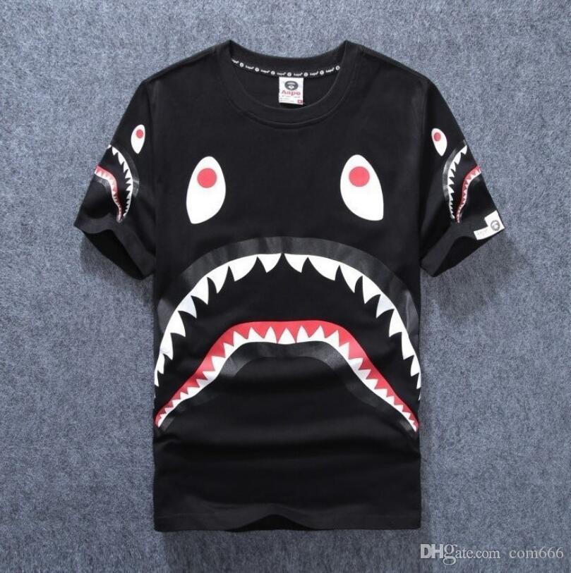 Men\'S Clothing Wear Tide Brand Shark Mouth Printing Men Women Lovers Fund  Round Neck Short Sleeve T Shirt For Pity T Shirt Fashion Tshi Tee Shirt.