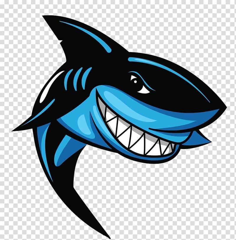 Shark illustration, Great white shark Logo, Hand painted.