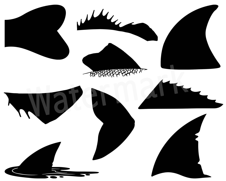 Fish Fins SVG Silhouette Clipart, Bass Fin, Shark Fin.