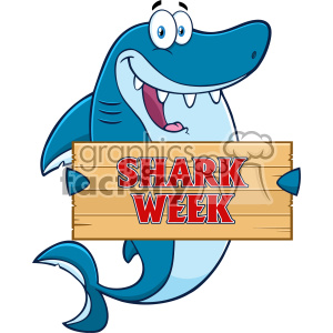 Happy Blue Shark Cartoon Holding A Wooden Sign With Text Shark Week Vector  clipart. Royalty.
