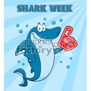 Cute Blue Shark Cartoon Wearing A Foam Finger Vector With Blue Sunburs  Background And Text Shark Week clipart. Royalty.