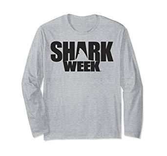 Amazon.com: Shark Week All Black Shark Fin Logo Long Sleeve.