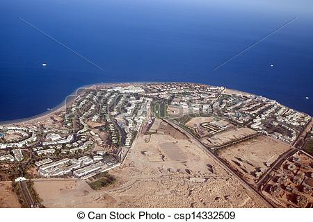 Stock Photography of view to Sharm El Sheikh from plane.