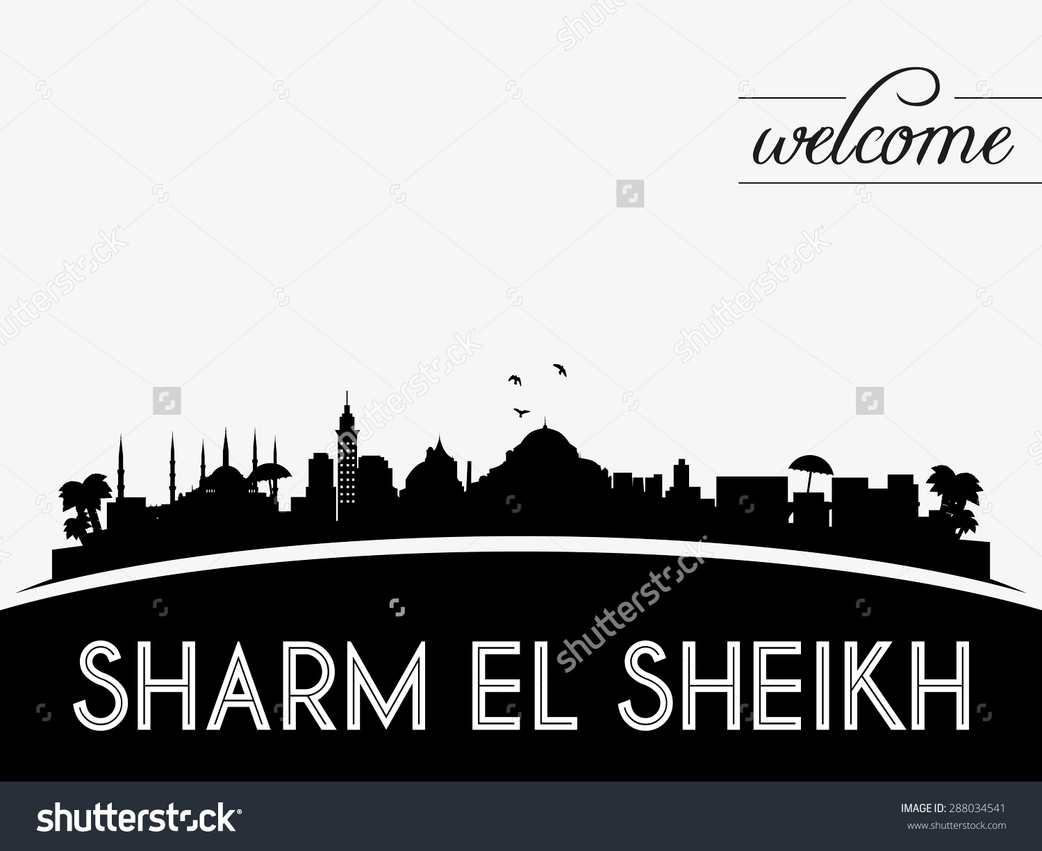 Sharm El Sheikh Skyline Silhouette Black Stock Vector 288034541.