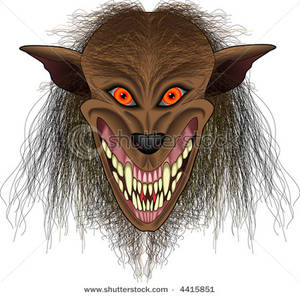 Image: A Werewolf with Glowing Eyes and Sharp Fangs.