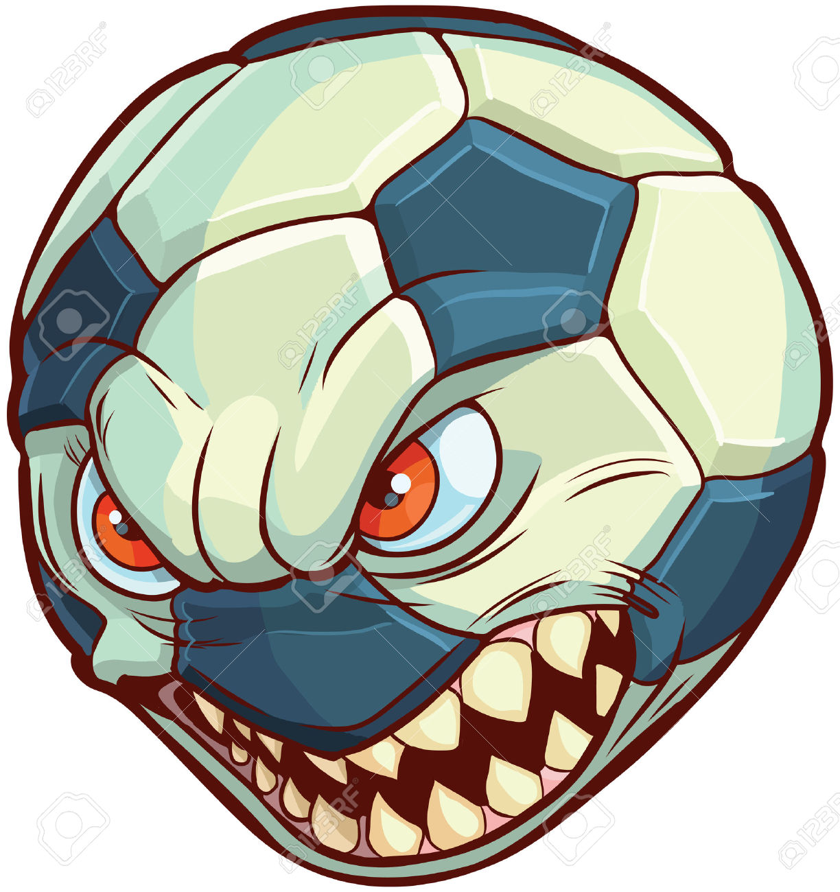Cartoon Clip Art Illustration Of A Soccer Ball Or Football With.