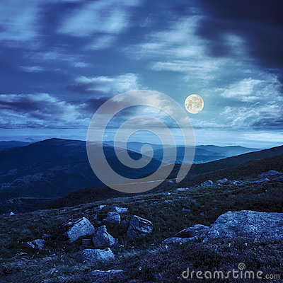 White Boulders On The Hillside At Night Stock Photo.