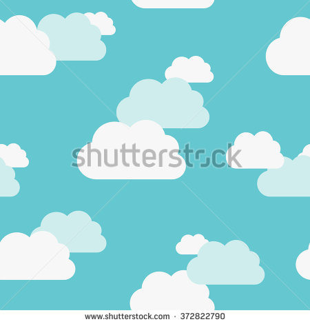 Cartoon Clouds Illustration On Blue Background Stock Vector.