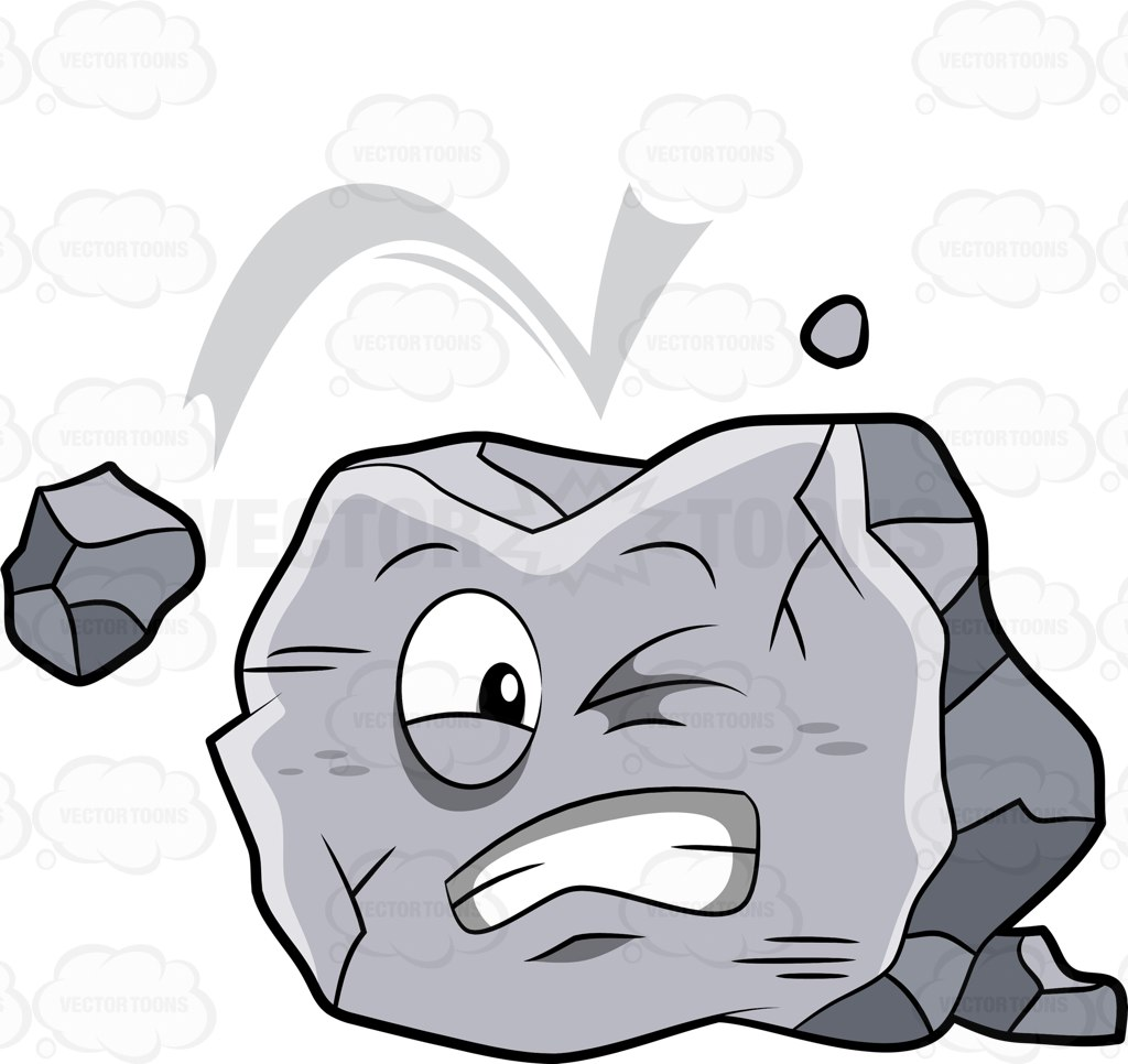 A Big Rock Being Hit By A Falling Rock Cartoon Clipart.