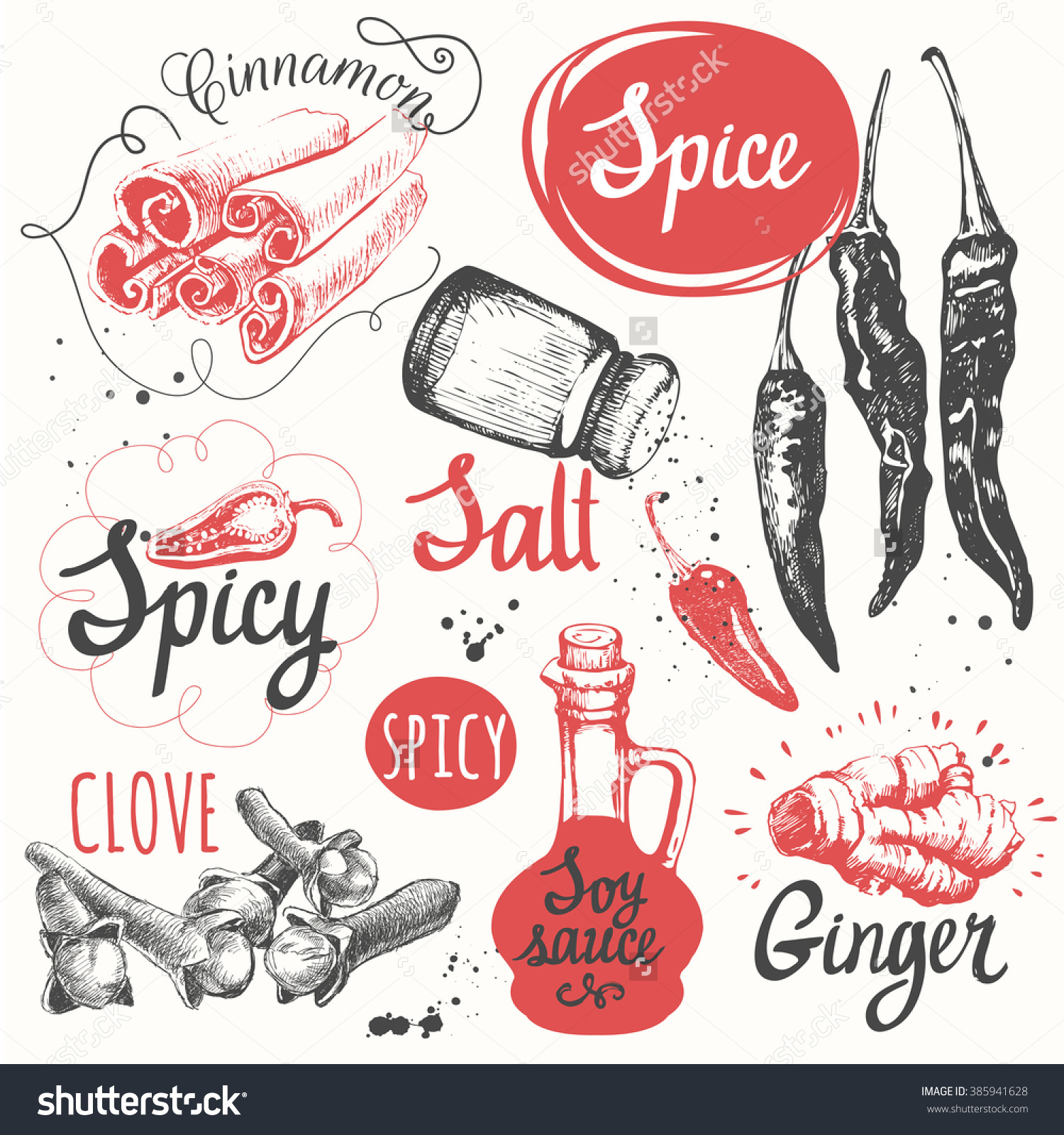 Sketch Set Soy Sauce Cloves Salt Stock Vector 385941628.