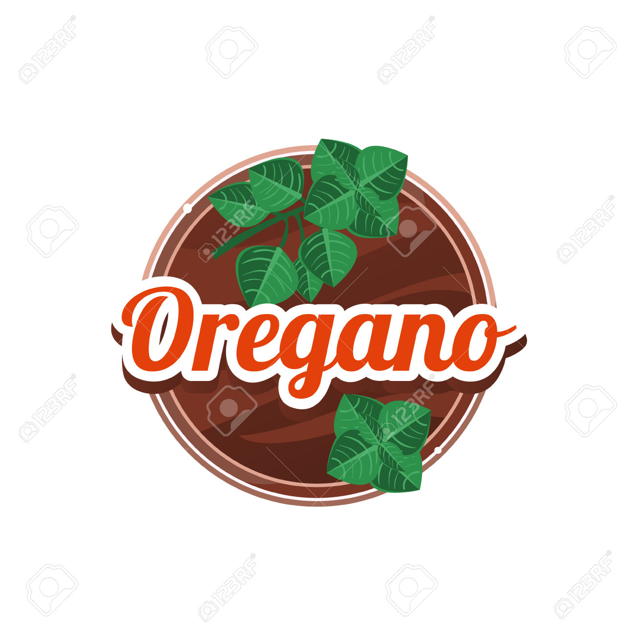 Oregano Spice. Decorative Vector Illustration. Stickers With.