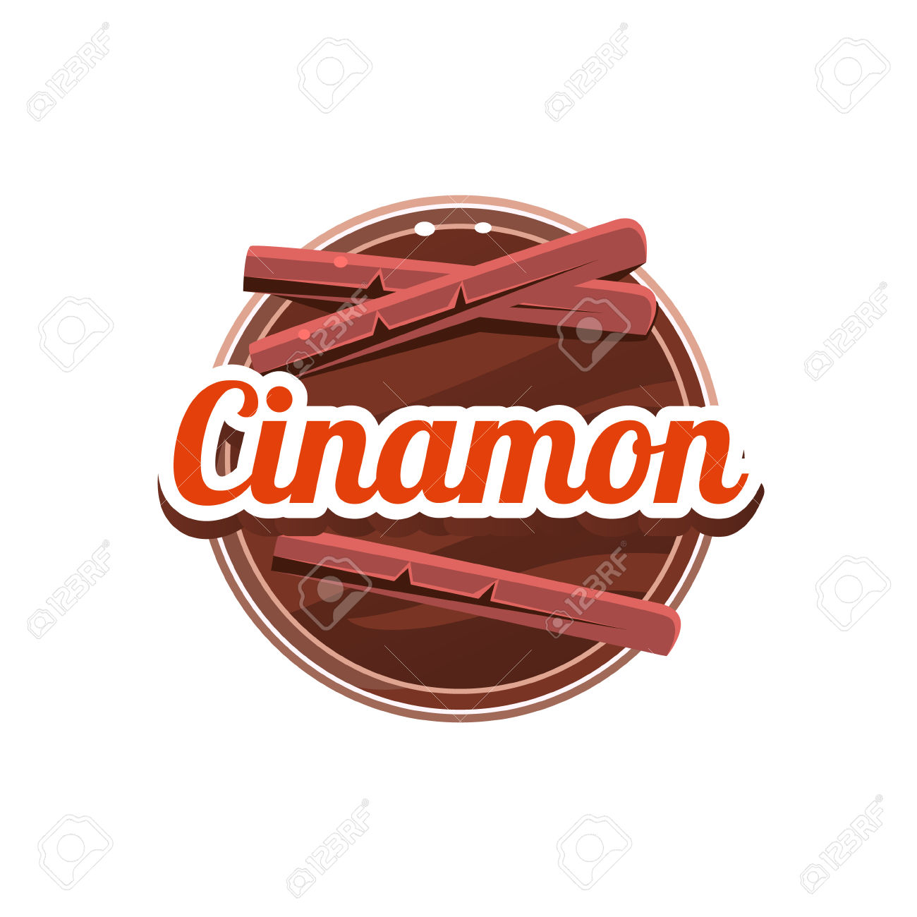 Cinamon Spice. Decorative Vector Illustration. Stickers With.