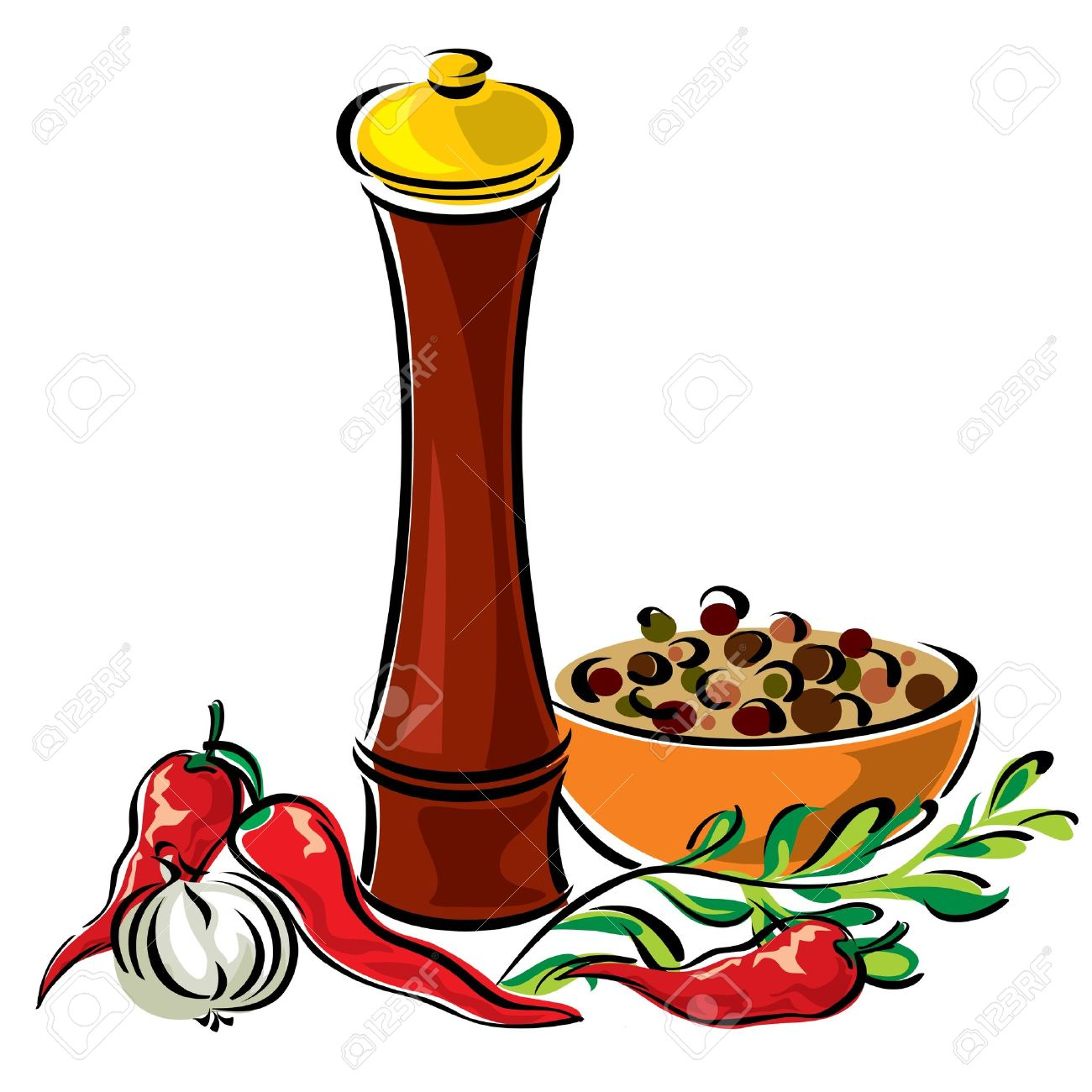 Vector Images Mills For Spices And Seasonings Royalty Free.
