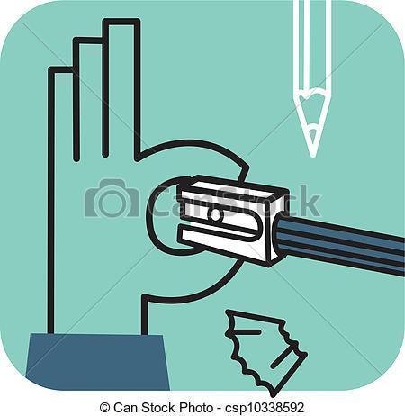 Stock Illustration of Hand sharpening pencil csp10338592.