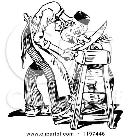 Clipart of a Vintage Black and White Man Sharpening a Knife.