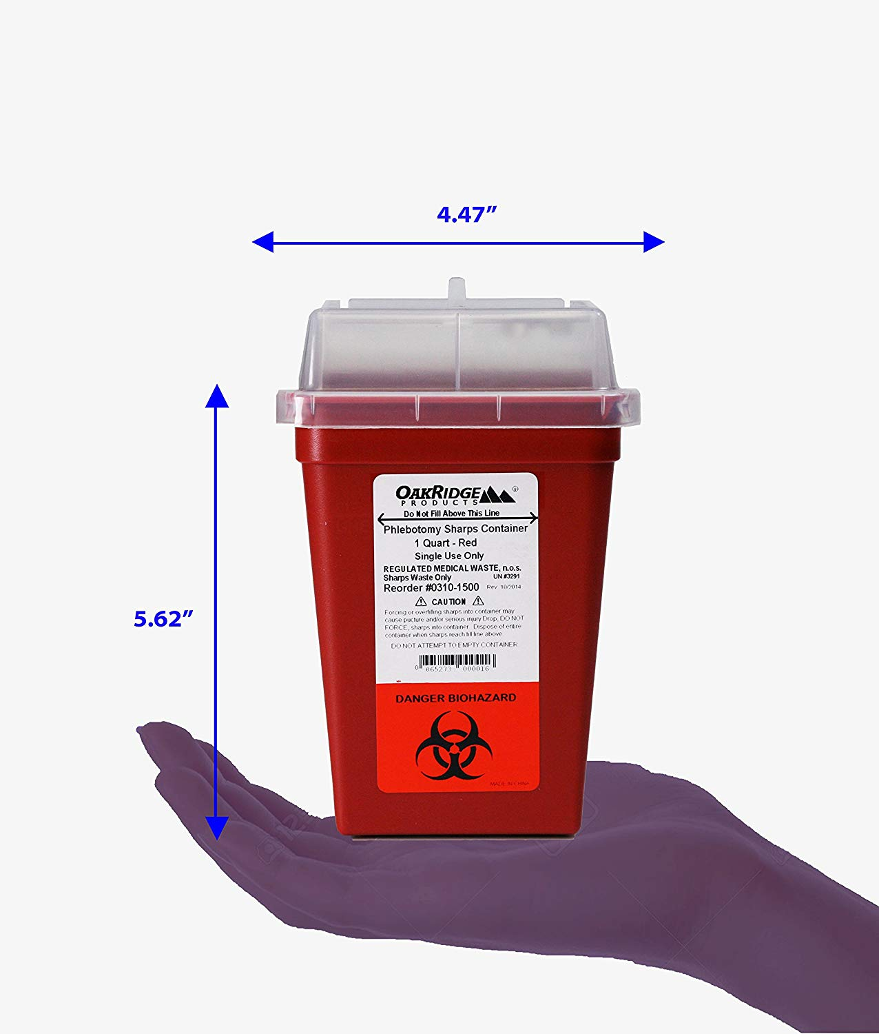 OakRidge Products 1 Quart Size Sharps and Biohazard Disposal Container,.