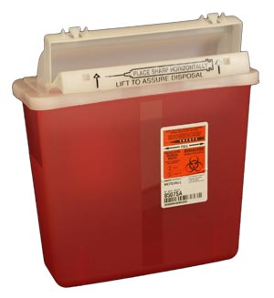 5 Qt Red Transparent Sharps Container from Unimed Corp.