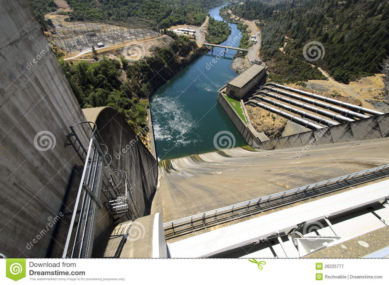 Shasta Hydro Dam And Spillway, USA Royalty Free Stock Photography.