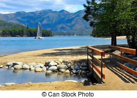 Stock Photography of Shasta Dam and Shasta Mountain in California.