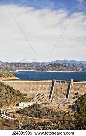 Stock Image of USA, California, Lake Shasta, Lake Shasta Dam.