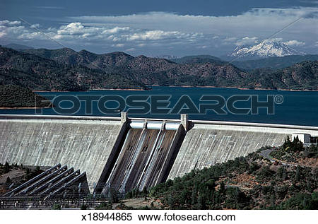 Stock Image of Shasta Dam face spillway x18944865.