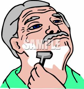 Art Image: An Elderly Gentleman Shaving His Face.